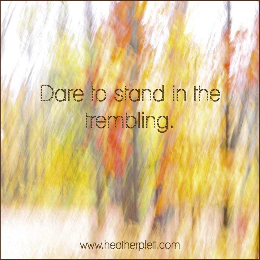 dare to stand in the trembling