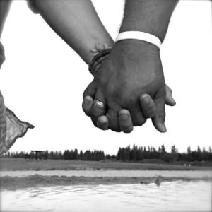 hand in hand b&w